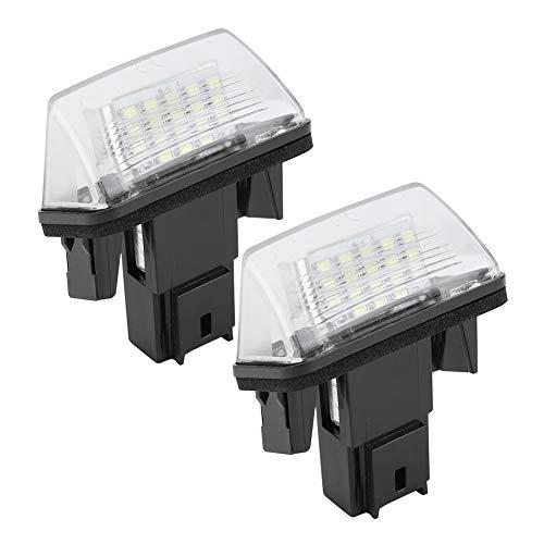 Registreringsskyltsbelysning, vänster och höger 18 LED-lampor lins svart hölje för Citroen C3 2002-2009 (2PCS)