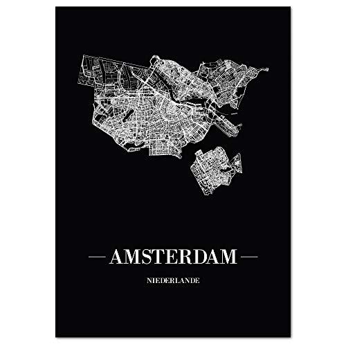 JUNIWORDS Stadtposter - Wähle Deine Stadt - Amsterdam - 40 x 60 cm Poster - Schrift A - Schwarz