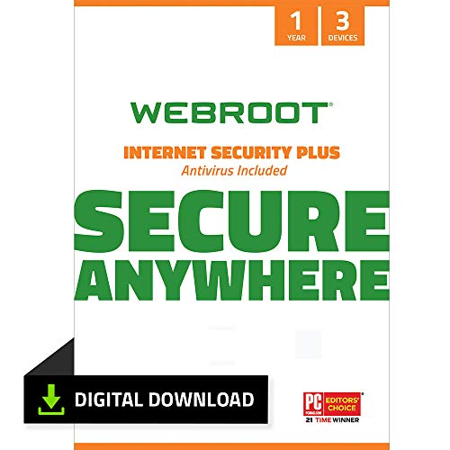Webroot Internet Security Plus 2021 | Antivirus Software for 3 Device |1 Year | PC Download | Includes Android, IOS and Password Manager Encryption