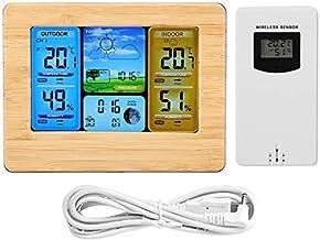 GXT Higrómetro Termómetro de Reloj de Clima inalámbrico Digital LCD Termómetro Interior y al Aire Libre Calendario de Calendario