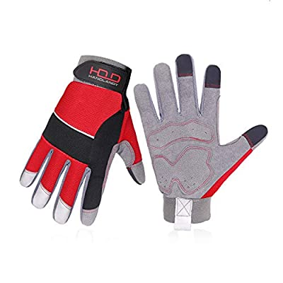 Mens Work Gloves, General Utility Safety Work Gloves, Touch Screen Mechanic Working Gloves for Men & Women (M, Red)
