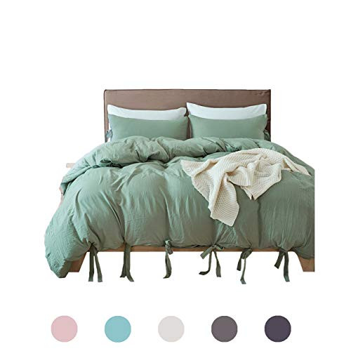 MOVE OVER 3 Pieces Green Bedding Sea Green Duvet Cover Set Dark Bowknot Design Soft Dark Sea Green Bedding Sets King One Duvet Cover Two Pillowcases (King, Dark Sea Green)