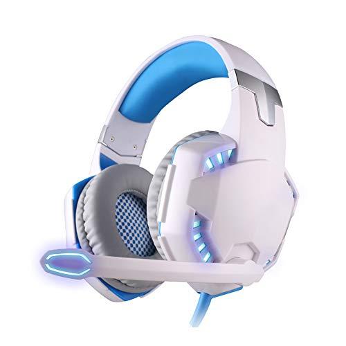 XHN Casque de Jeu Filaire Casques d'écoute USB pour PC, Son Surround 7.1 stéréo, Casque d'écoute PS4 avec Microphone antibruit, Compatible avec PC, PS4, Camouflage-WhiteBlue