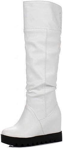 Fuxitoggo Bottes pour Les Les dames dames - Bottes épaisses au-Dessus du Genou AugHommestation de la Longueur du Tube Plat Bottes pour Femmes Bottes Chaudes d'hiver 34-43 (Couleuré   Blanc, Taille   42)