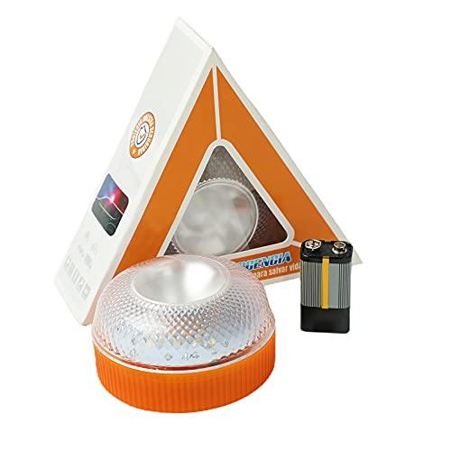 Luz de Emergencia, Señal V16 de Preseñalización de Peligro Homologada Luz de Avería Emergencia Magnética Led Luz Emergencia para Coches y Motocicletas (Orange, Con batería)