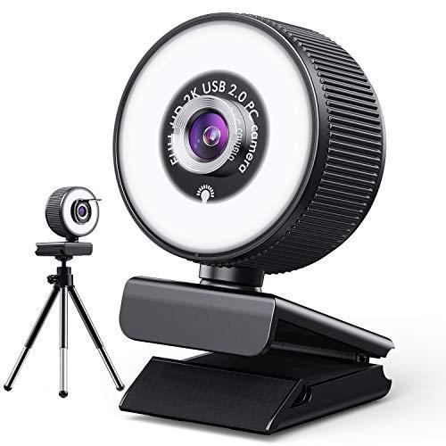 HD 2K Streaming-Webcam mit 18-LED-Ringlicht und Mikrofon,fortschrittlicher Autofokus,Privatsphäre-Abdeckung & Stativ,Desktop-Laptop-Computer Webcam mit USB,360° Drehung,für Mac OS,Windows