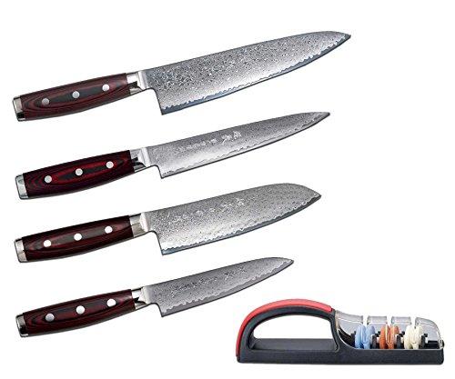 Damastmesser-SET Yaxell SUPER GOU 161-4 Messer + Messerschärfer - Schnittkern aus Pulverstahl 63HRC