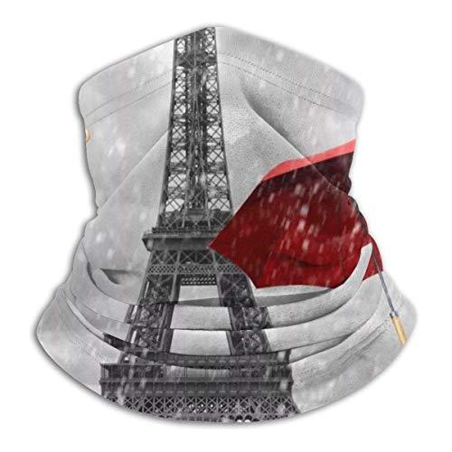 Parigi Torre Eiffel e scaldacollo con ombrello rosso Scaldacollo scaldacollo antivento Sciarpa passamontagna UV per lo sport all'aperto