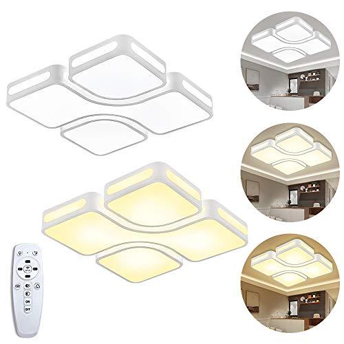 Froadp 64W Dimmbar LED Deckenleuchte Einfach Gestalten 8-Formige Acryl-Schirm Energiespar Beleuchtung mit stufenlosen Fernbedienung für Schlafzimmer Küche Korridor(Quadrat,Weiß)