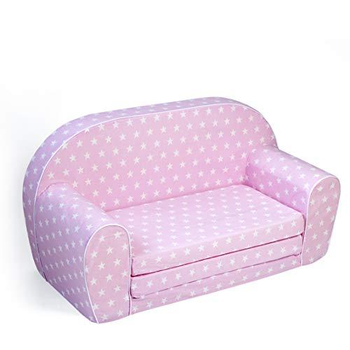 MuseHouse Kindersofa Kindercouch Kindersessel Sofa Bettfunktion Kindermöbel (Pink)