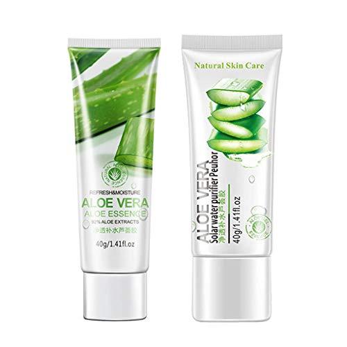 2 Stück Aloe Vera Gel Feuchtigkeitslotion Feuchtigkeitsspendend Gesicht Sonnenschutz Sonnenbrand Haut Hautpflege Herren Damen Gesichtscreme DIY Handwäsche 40g (Grün)
