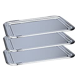 3 x Party Plate / Serving Plate / Cheese Plate / Sausage Plate / Silver Tray, Chrome Plated Metal | 41 x 31 cm