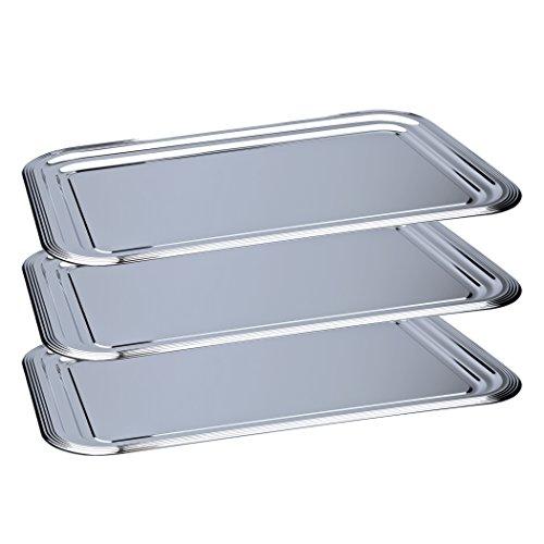 3 x Partyplatte/Servierplatte/Käseplatte/Wurstplatte/Silbertablett, Metall verchromt | 41 x 31 cm