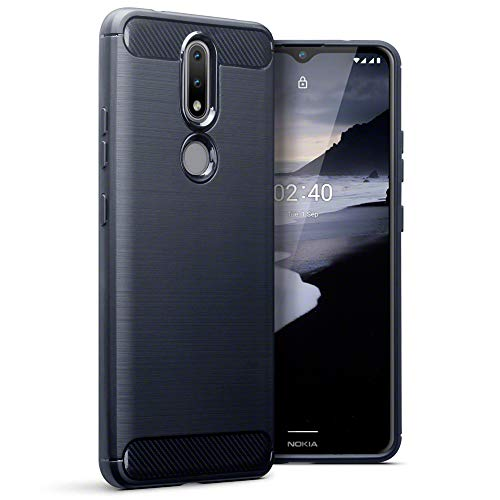 TERRAPIN, Kompatibel mit Nokia 2.4 Hülle, TPU Schutzhülle Tasche Hülle Cover mit Karbonfaser und Ausgebürstet Dessin Nokia 2.4 Handyhülle - Blau