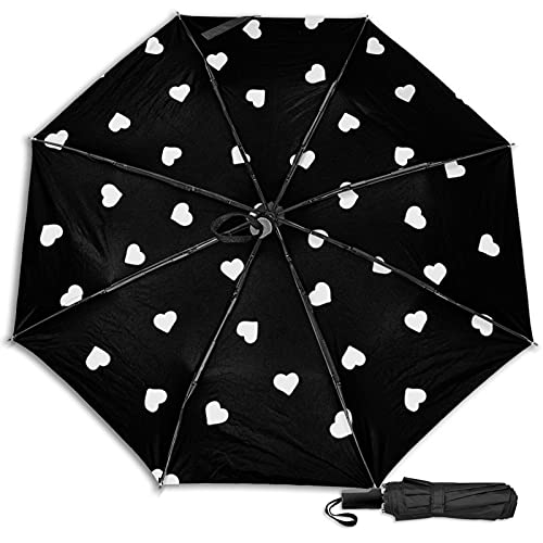 LYYNBLA HeartCompact - Paraguas de viaje para exteriores, con diseño de triple, resistente al viento y lluvia y sol, Impresión interior., Taille unique