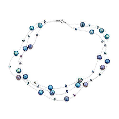 Bling Jewelry Sfumature di Grigio Blu Multi Strand Linea di Pesca Acqua Dolce coltivata Perla Illusione Collana per Le Donne Sposa Damigella d'Onore Festa Formale
