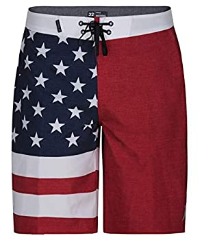 Hurley Men s Phantom Patriot Cheers USA Flag 20  Board Shorts Gym Red 30