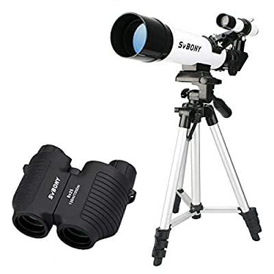 SVBONY SV25 Telescope 60mm Refractor Astronomy Telescopes and SV10 Auto Focus Binoculars Pocket Size Small Compact Binoculars for Kids Beginner Adults