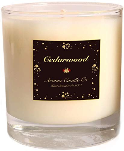 Aromatherapy Candles | 100% Pure Cedarwood Essential Oil | 100% Soy Wax | 14 OZ Glass | 50 Hour Burn Time | Hand Poured in USA