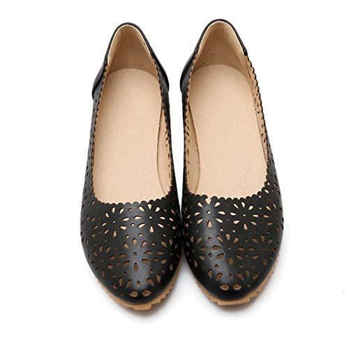 iwzmiapal Woman Flats Spring Female Ballet Metal Round Toe Solid Casual Black 13 M US