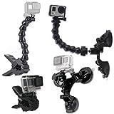 cherrypop Soporte de ventosa para coche con soporte de 360 grados+mordazas Flex abrazadera montaje con cuello de cisne ajustable accesorios para Hero Session 6 5 4 3 2 y otras cámaras de acción