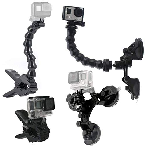Gesh Soporte con ventosa para coche con soporte de 360 grados+mordazas Flex abrazadera con accesorios de cuello de cisne ajustable para Hero Session 6 5 4 3 2 y otras cámaras de acción