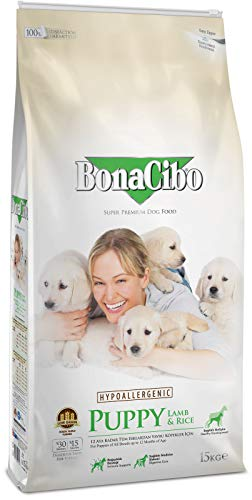 BonaCibo Puppy Food with Lamb and Rice - Highly Digestible Ingredients, Optimum Protein, Fat and Carbohydrate - Provide Healthy Growth & Excellent Flavor of Lamb - Balanced Vitamins & Minerals | 15 KG