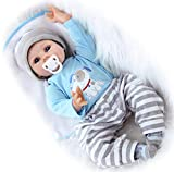 ZIYIUI 22 Zoll Reborn Babypuppen Junge Realistische Kleinkind Weiche Silikon Vinyl Reborn Baby Dolls Magnetisch Mund Kind Geschenke Realistisch Handgemacht Spielzeug 55cm Xmas Gifts