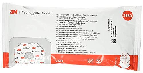3M-2560 Electrode EKG/ECG Red Dot Foam Tape/ Gel 4x3-1/2cm 50 Per Bag by 3M Part No. 2560