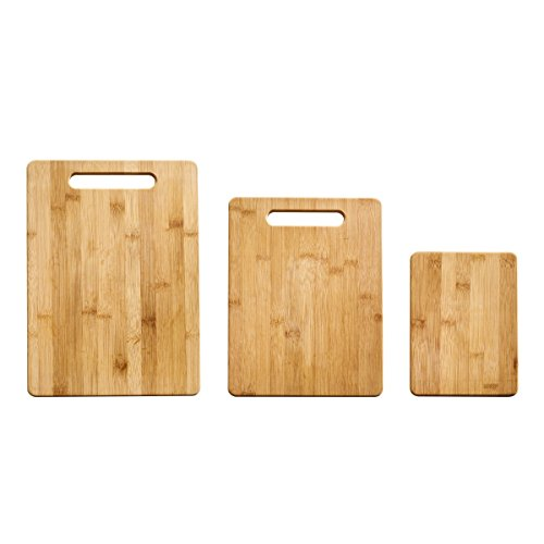 Farberware 3-Piece Bamboo Cutting Board, Set of 3 Assorted Sizes, Brown