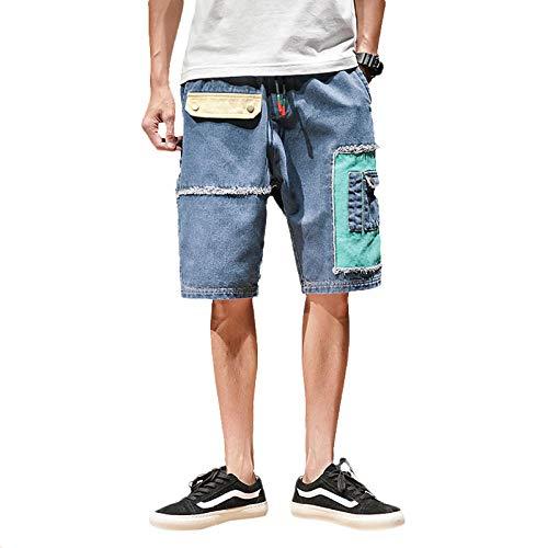 Sommer Mens Shorts Patchwork Jeans Shorts Multi-Tasche Lässige Männer Kurze Hosen Streetwear -Blau_Chinese_Size_4XL