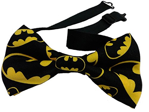 "Batman Bow Tie, Pretied, Cotton Adult 4.5"" x 2.5"" Adjustable to 18 Inches"