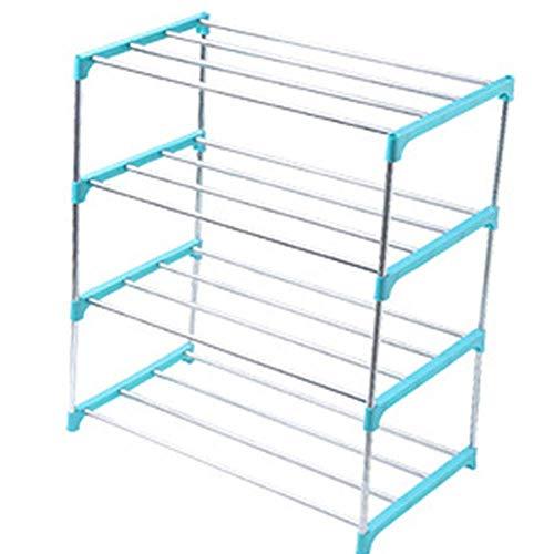 AROYEL Zapatero organizador de almacenamiento de 3 niveles y 4 niveles, estante apilable duradero, organizador de zapatos para ahorrar espacio duradero (azul, 4 niveles)