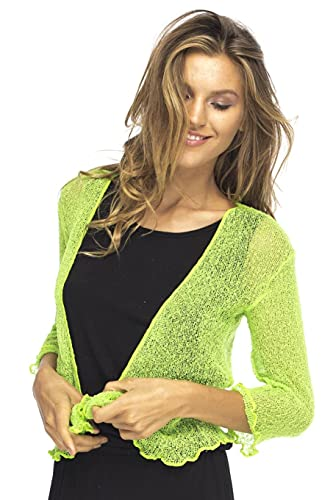 Back From Bali Womens Lightweight Knit Cardigan Shrug Lite Sheer Lime Green