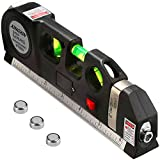 Multipurpose Laser Level Laser Line 8 feet Measure Tape Ruler Adjusted Standard and Metric Rulers Laser Level Line Tool for hanging pictures-Hanging cabinets-Tile Walls