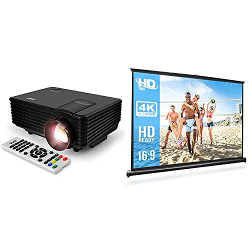 """Portable Video Projector Full HD with Remote - Home Theater Projector Tv Digital Movie Projector & Pyle 50"""" Inch Portable Projector Screen - Portable Floor Standing Fold-Out Roll-Up Tripod Manual"""