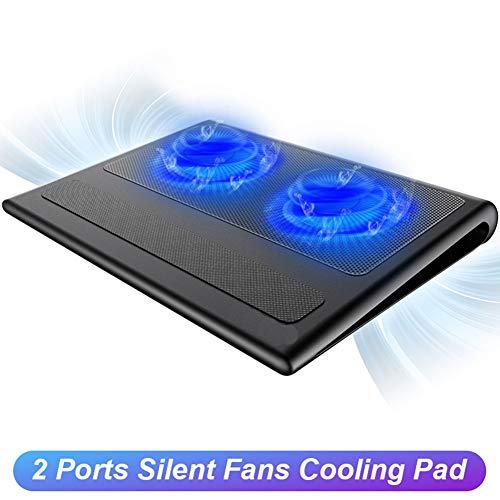DCSHOP Laptop Kühlpads, Laptop und Notebook Kühlkissen 2 Lüfter Laptop-Kühler passt 9-16 Zoll für Laptop PC Computer Cooling Pad