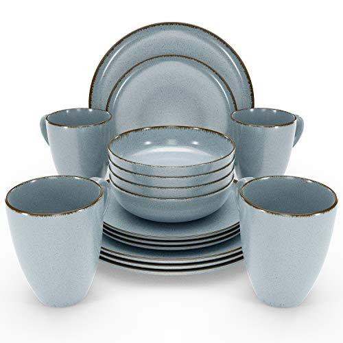 Essgeschirr 4 Personen Set - 16-teiliges Geschirrset im Trendy Rustikalen Design in Blau - Spülmaschinenfestes Porzellan Schüssel- und Tellerset - Tafelservice 4 Personen...