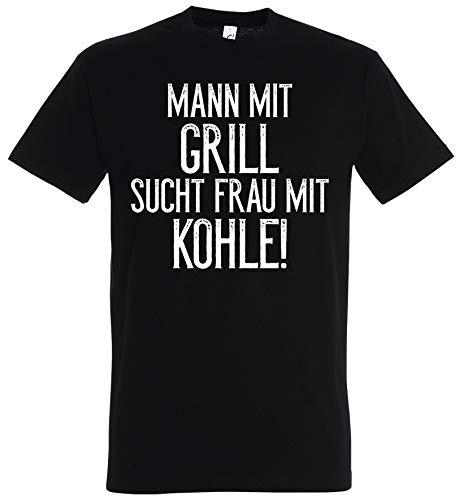T-Shirt Mann mit Grill sucht Frau mit Kohle!, Funshirt Geschenk Single Junggeselle (XXL)