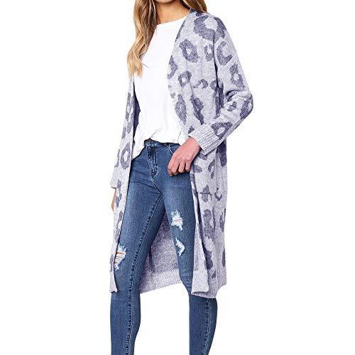 iYmitz Damen Gestrickter Leopard Print Langarm Strickjacke T-Shirt Pullover Mantel