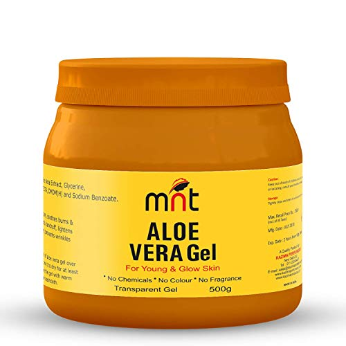 MNT Pure ALOE VERA Gel Transparent (500 Gram) For Hair, Skin, Body and Beard | Multipurpose Beauty Skin Gel For Young Face & Glow Skin (No Chemicals, No Colour, No Fragrance)