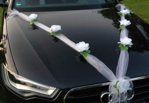 Organza M Auto Schmuck Braut Paar Rose Deko Dekoration Hochzeit Car Auto Wedding Deko Girlande PKW (Reinweiß/Weiß) - 2