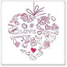 DIYthinker Valentine'S Day Red Heart Shaped Angel Arrow Cupcake Flower Kiss Girl Love Illustration Pattern Ceramic Bisque ...