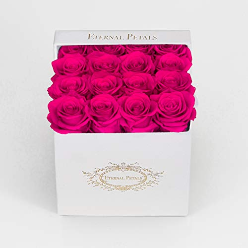 Eternal Petals 100% Real Roses That Last A Year - The Perfect Unique Gift for Women, Men, Birthday Gift – White Velvet (Hot Pink)