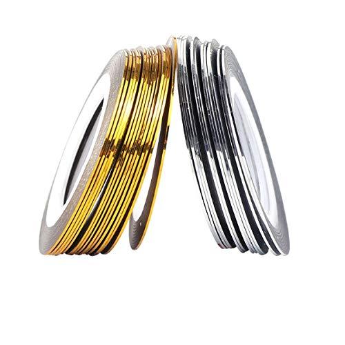 QQINGHAN Pegatina de Rayas de Plata de Oro Holográfico 3D Tiras de línea Cinta Adhesiva Nail Art Polish Decoraciones 0.5mm (Color : 1pc Gold 1pc Silver)