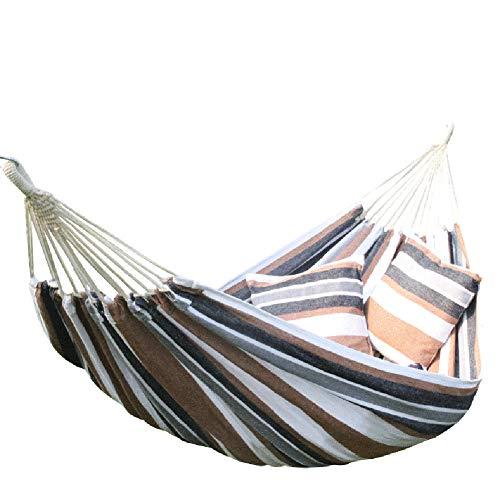 Double Katoen Hangmat, draagkracht tot 150 kg 2-persoons hangmat set met draagtas en 2 Kussens voor Indoor Outdoor Camping