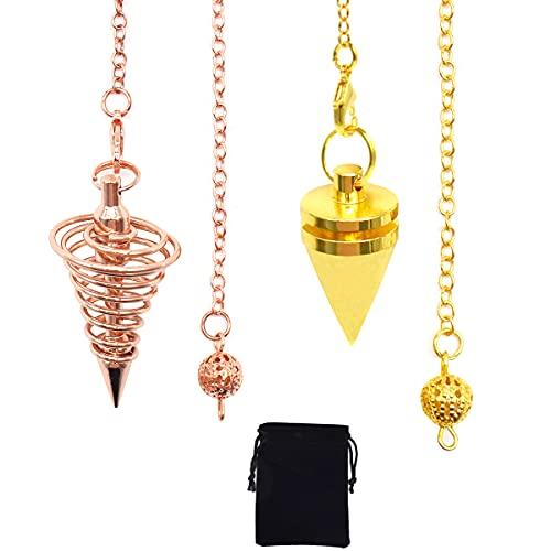 Yueser 2 Pezzi Pendolino Esoterico Pendolo a Cono Metallo Pendolo di Divinazione Rabdomanzia Pendolo Spirale (Oro,Oro Rosa)
