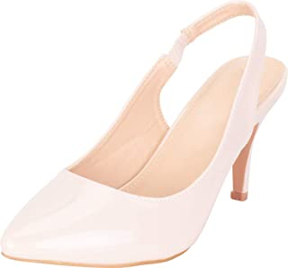 Cambridge Select Women's Stretch Slingback Pointed Toe Stiletto High Heel Pump