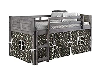 DONCO KIDS Louver Low Loft Bed with Camo Tent Twin Antique Grey