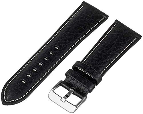 MS-906 Black 22mm Hadley-Roma Men's Genuine Leather Watch Band